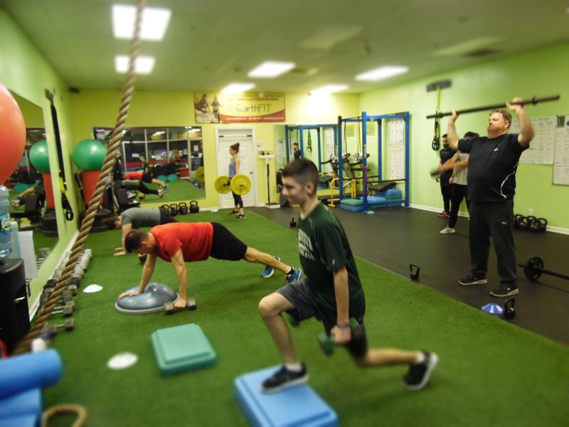 Photo of group training taking place inside EarthFIT NF training facility